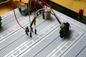 IR distance sensor on breadboard